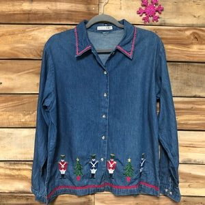 Maggie & Max button up Christmas denim top
